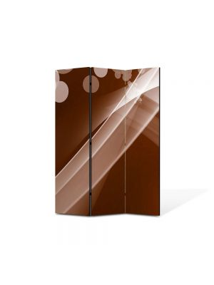 Paravan de Camera ArtDeco din 3 Panouri Abstract Decorativ Maroniu 105 x 150 cm