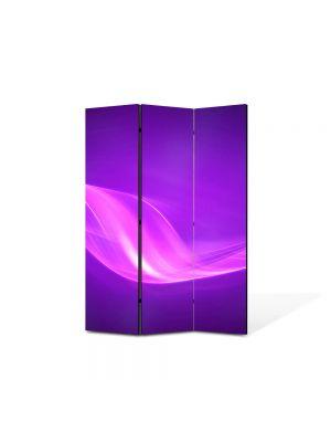 Paravan de Camera ArtDeco din 3 Panouri Abstract Decorativ Raze violet 105 x 150 cm