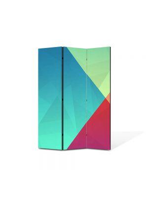 Paravan de Camera ArtDeco din 3 Panouri Abstract Decorativ Patru culori 105 x 150 cm