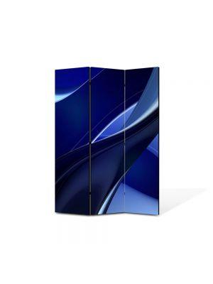 Paravan de Camera ArtDeco din 3 Panouri Abstract Decorativ Albastru 105 x 150 cm