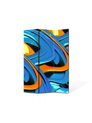 Paravan de Camera ArtDeco din 3 Panouri Abstract Decorativ Albastru si portocaliu 105 x 150 cm
