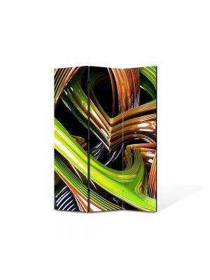 Paravan de Camera ArtDeco din 3 Panouri Abstract Decorativ Sticla colorata 105 x 150 cm