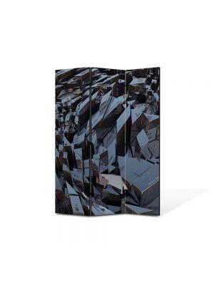 Paravan de Camera ArtDeco din 3 Panouri Abstract Decorativ Metal 105 x 150 cm