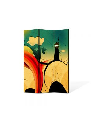 Paravan de Camera ArtDeco din 3 Panouri Abstract Decorativ Desen contemporan 105 x 150 cm