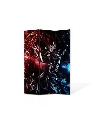 Paravan de Camera ArtDeco din 3 Panouri Abstract Decorativ Foc si gheata 105 x 150 cm