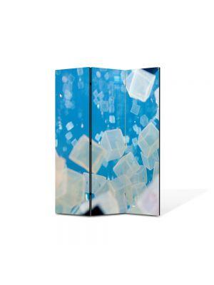 Paravan de Camera ArtDeco din 3 Panouri Abstract Decorativ Cuburi de gheata 105 x 150 cm