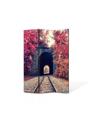 Paravan de Camera ArtDeco din 3 Panouri Peisaj Cale ferata 105 x 150 cm