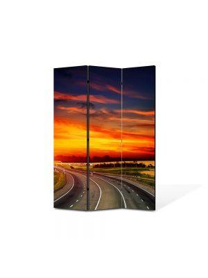 Paravan de Camera ArtDeco din 3 Panouri Peisaj Sosea spre apus 105 x 150 cm