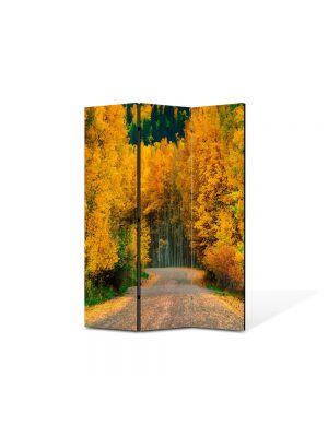 Paravan de Camera ArtDeco din 3 Panouri Peisaj Toamna pe drum 105 x 150 cm