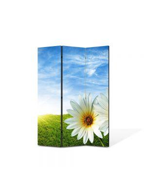 Paravan de Camera ArtDeco din 3 Panouri Peisaj Doua Flori 105 x 150 cm