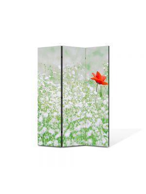 Paravan de Camera ArtDeco din 3 Panouri Peisaj Floare rosie 105 x 150 cm