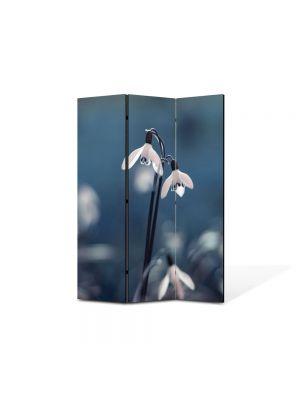 Paravan de Camera ArtDeco din 3 Panouri Peisaj Ghiocei gemeni 105 x 150 cm