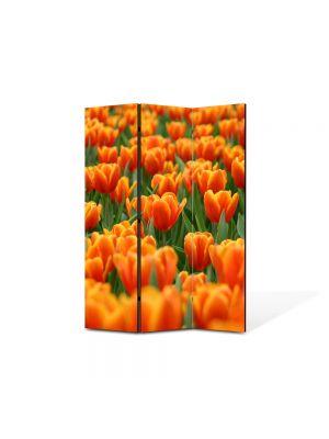Paravan de Camera ArtDeco din 3 Panouri Peisaj Mare de lalele portocalii 105 x 150 cm