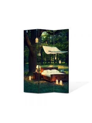 Paravan de Camera ArtDeco din 3 Panouri Peisaj Seara romantica in padure 105 x 150 cm
