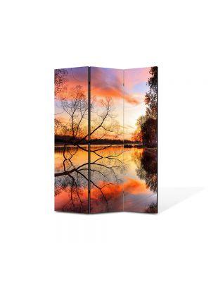 Paravan de Camera ArtDeco din 3 Panouri Peisaj Toamna pe lac 105 x 150 cm