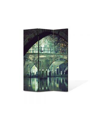 Paravan de Camera ArtDeco din 3 Panouri Peisaj Urban 105 x 150 cm
