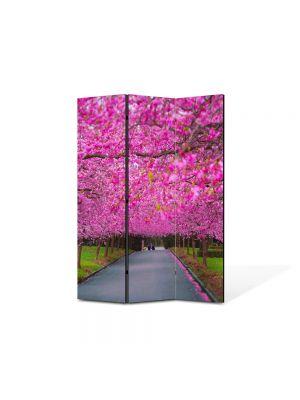 Paravan de Camera ArtDeco din 3 Panouri Peisaj Ciresi japonezi infloriti 105 x 150 cm