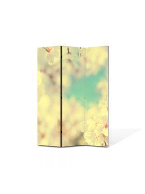 Paravan de Camera ArtDeco din 3 Panouri Peisaj Alb-turcuaz 105 x 150 cm
