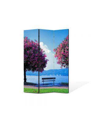 Paravan de Camera ArtDeco din 3 Panouri Peisaj Doi Copaci si o banca 105 x 150 cm