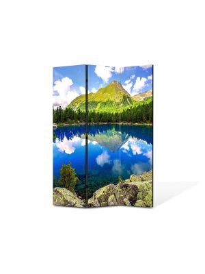 Paravan de Camera ArtDeco din 3 Panouri Peisaj montan 105 x 150 cm