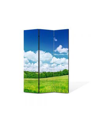 Paravan de Camera ArtDeco din 3 Panouri Peisaj utopic 105 x 150 cm