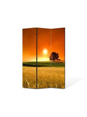 Paravan de Camera ArtDeco din 3 Panouri Peisaj In lanul de secara 105 x 150 cm