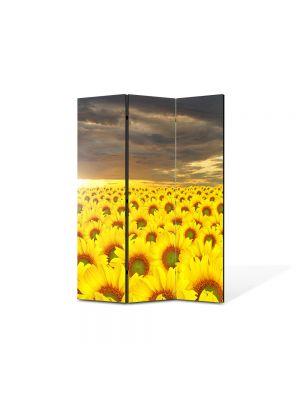 Paravan de Camera ArtDeco din 3 Panouri Peisaj Lan de floarea soarelui 105 x 150 cm
