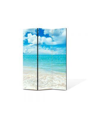 Paravan de Camera ArtDeco din 3 Panouri Peisaj Baie in mare 105 x 150 cm