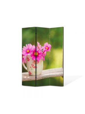Paravan de Camera ArtDeco din 3 Panouri Peisaj Flori in leagan 105 x 150 cm