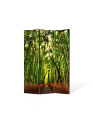 Paravan de Camera ArtDeco din 3 Panouri Peisaj Padure de bambus 105 x 150 cm