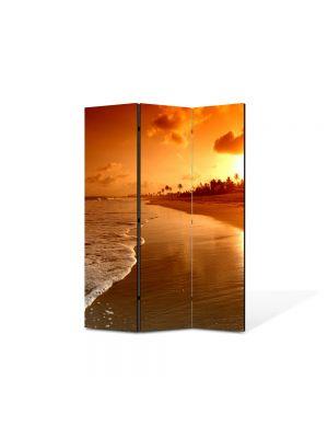 Paravan de Camera ArtDeco din 3 Panouri Peisaj Plaja la apus 105 x 150 cm