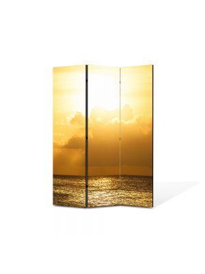Paravan de Camera ArtDeco din 3 Panouri Peisaj Cer galben 105 x 150 cm