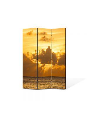 Paravan de Camera ArtDeco din 3 Panouri Peisaj Soare dupa nori 105 x 150 cm