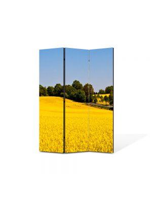 Paravan de Camera ArtDeco din 3 Panouri Peisaj Campie galbena 105 x 150 cm