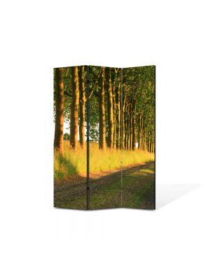 Paravan de Camera ArtDeco din 3 Panouri Peisaj Copaci pe marginea drumului 105 x 150 cm