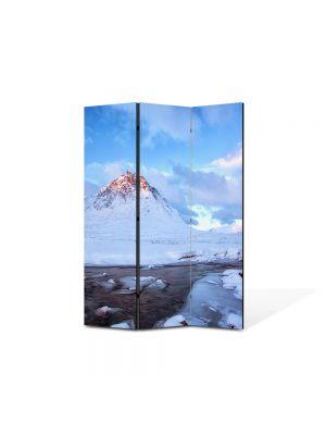 Paravan de Camera ArtDeco din 3 Panouri Peisaj Cel mai inalt munte 105 x 150 cm