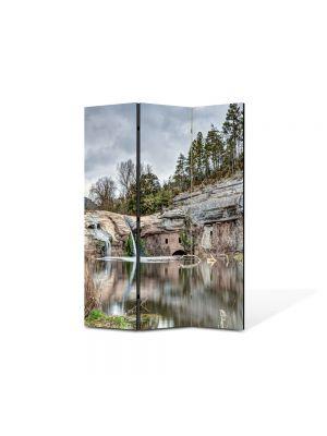 Paravan de Camera ArtDeco din 3 Panouri Peisaj Cascada in lac 105 x 150 cm