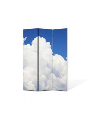 Paravan de Camera ArtDeco din 3 Panouri Peisaj Nori pufosi 105 x 150 cm