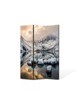 Paravan de Camera ArtDeco din 3 Panouri Peisaj Zapada si oglinda 105 x 150 cm