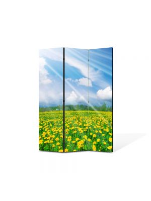 Paravan de Camera ArtDeco din 3 Panouri Peisaj Rase pe campie 105 x 150 cm