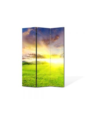 Paravan de Camera ArtDeco din 3 Panouri Peisaj Campie perfecta 105 x 150 cm