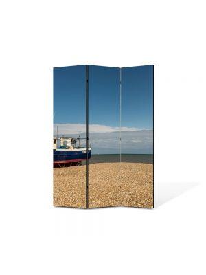 Paravan de Camera ArtDeco din 3 Panouri Peisaj Barca esuata 105 x 150 cm