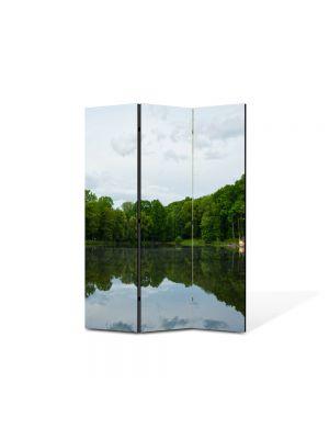 Paravan de Camera ArtDeco din 3 Panouri Peisaj Liniste pe lac 105 x 150 cm