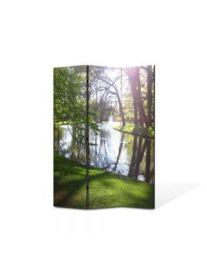 Paravan de Camera ArtDeco din 3 Panouri Peisaj Luciul apei 105 x 150 cm