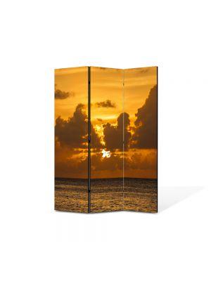 Paravan de Camera ArtDeco din 3 Panouri Peisaj La apus 105 x 150 cm