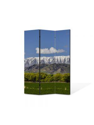 Paravan de Camera ArtDeco din 3 Panouri Peisaj Creasta muntilor 105 x 150 cm