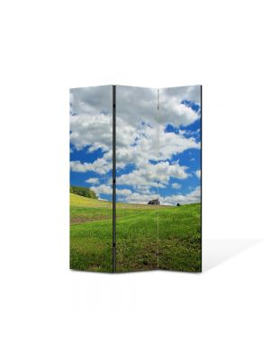 Paravan de Camera ArtDeco din 3 Panouri Peisaj Nori rasleti 105 x 150 cm
