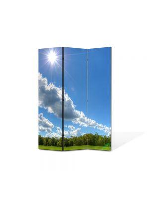 Paravan de Camera ArtDeco din 3 Panouri Peisaj In amiaza mare 105 x 150 cm