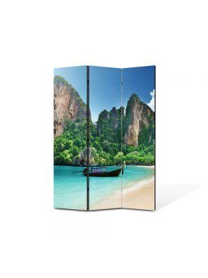 Paravan de Camera ArtDeco din 3 Panouri Peisaj La mare 105 x 150 cm