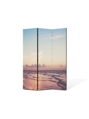 Paravan de Camera ArtDeco din 3 Panouri Peisaj Ponton pe ocean 105 x 150 cm